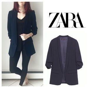 Zara Navy Blazer with Ruched Sleeves